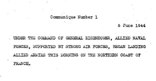 Communique 1 - Jun 6 1944